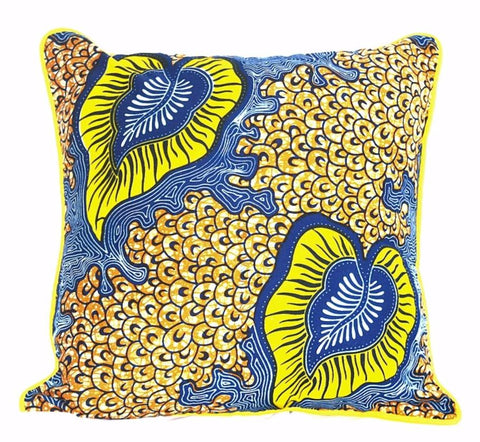 """Yellow Garden""  Wax Print Pillow"