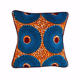 """Blue Wheels"" Square Pillow"