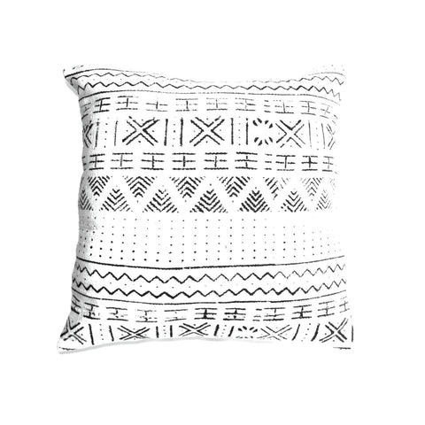"""White Mudcloth"" Decor Pillow"