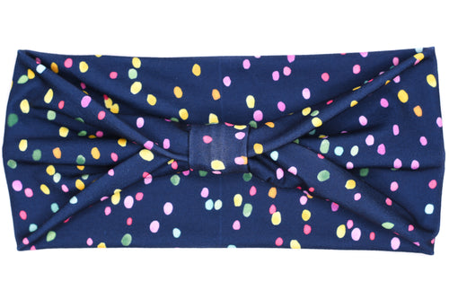 Wide Bow - Speckles on Navy