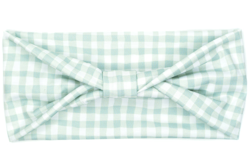 Wide Bow - Fall Mint Gingham Plaid