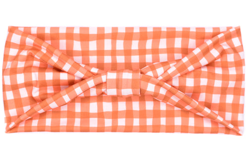Wide Bow - Fall Orange Gingham Plaid