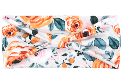 Wide Bow - Autumn Orange & Pink Watercolor Flowers on Grey