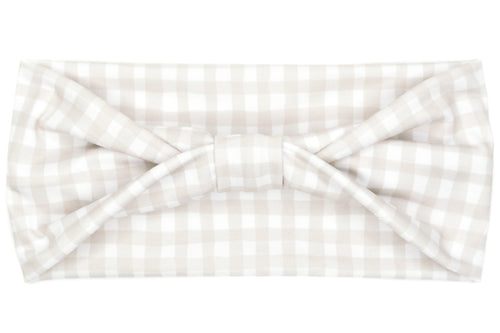 Wide Bow - Fall Grey Gingham Plaid