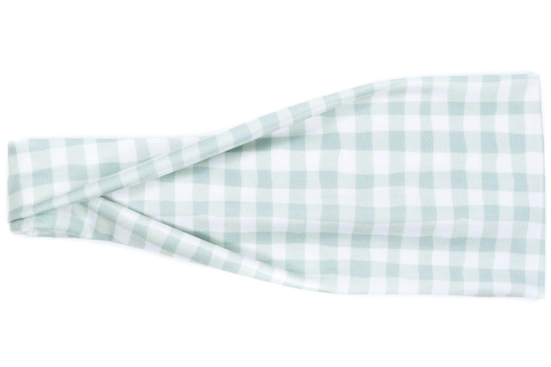 Modern Jersey Tri-Fold - Fall Mint Gingham Plaid