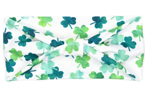Wide Bow - Three Leaf Clovers on White