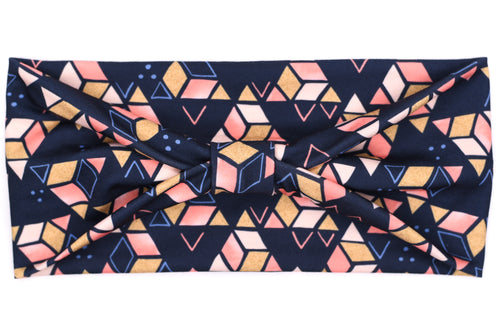 Wide Bow - Pink, Gold, & Blush Triangles on Navy