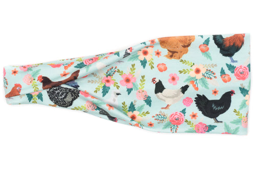 Modern Jersey Tri-Fold - Floral Chickens on Mint