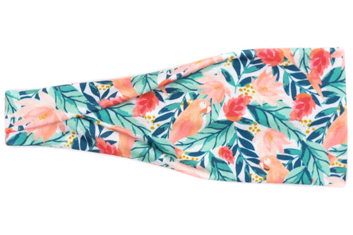Modern Jersey Tri-Fold - Parrots & Tropical Leaves