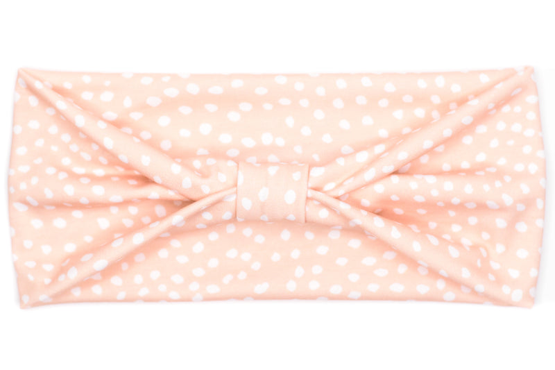 Wide Bow - White Dots on Blush Pink