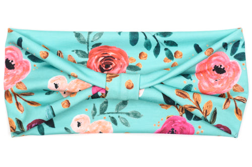 Wide Bow - Floral on Bright Teal