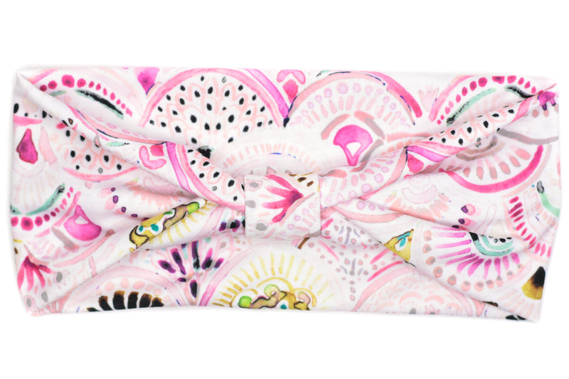 Wide Bow - Medallion Pink Mermaid