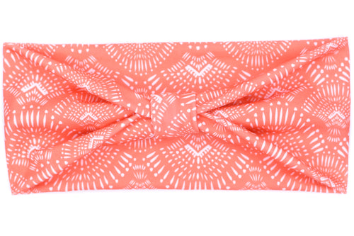 Wide Bow - Fall Coral Boho Medallion