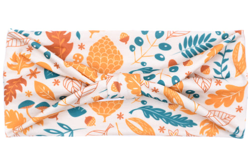 Wide Bow - Teal & Mustard Floral on Cream