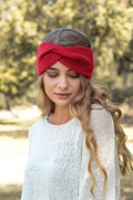 Hayley Twisted Knitted Headband - Red