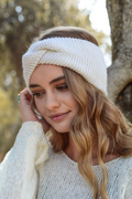Hayley Twisted Knitted Headband - Ivory