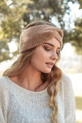 Hayley Twisted Knitted Headband - Camel