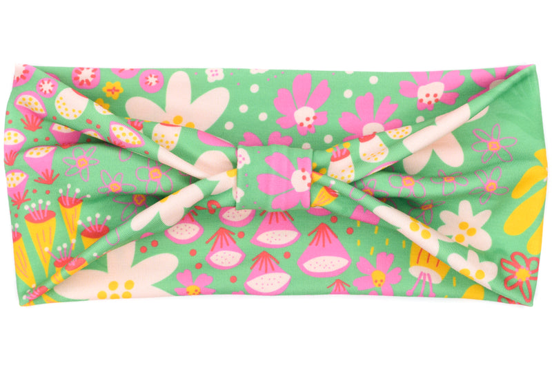 Wide Bow - Abstract Flowers on Light Green
