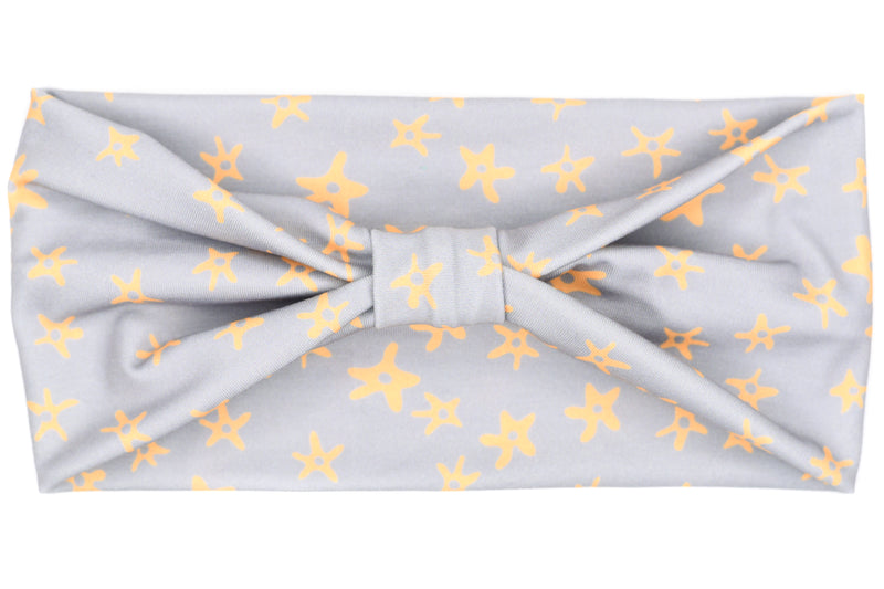 Wide Bow - Orange Bursts on Light Grey