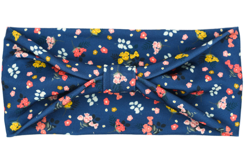 Wide Bow - Little Bitty Flowers on Navy