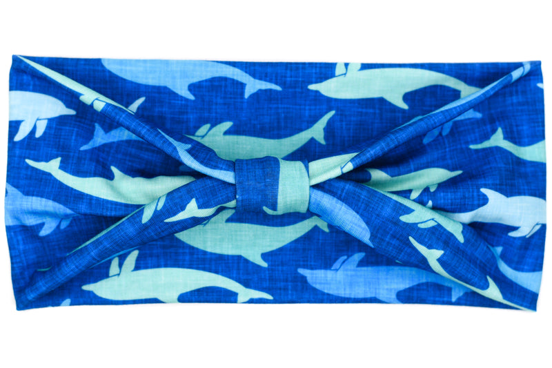 Wide Bow - Dolphins on Cobalt Blue