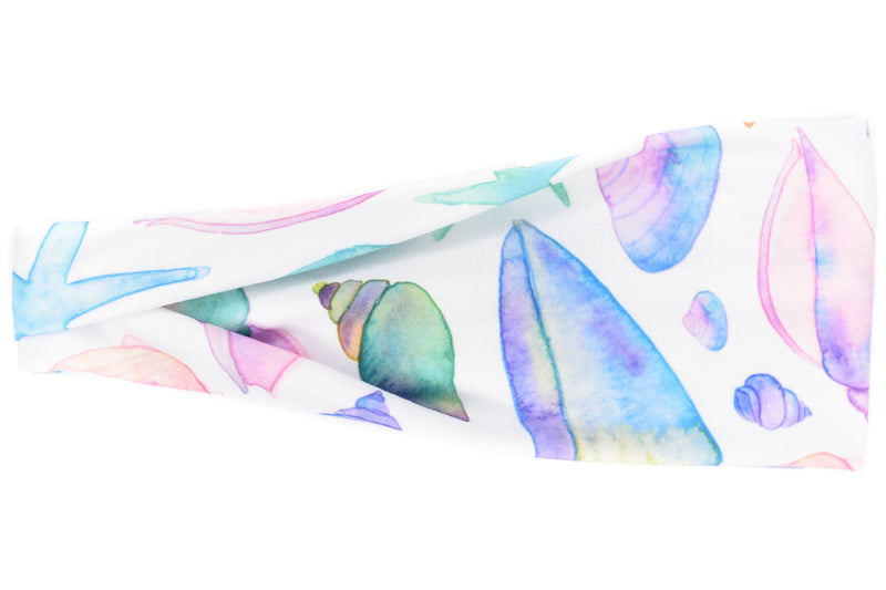 Modern Jersey Tri-Fold - Watercolor Pastel Sea Shells on White