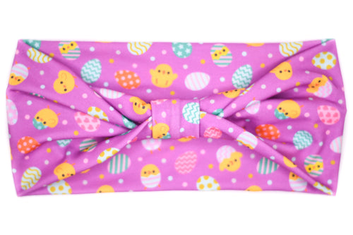 Wide Bow - Easter Eggs & Chicks on Purple