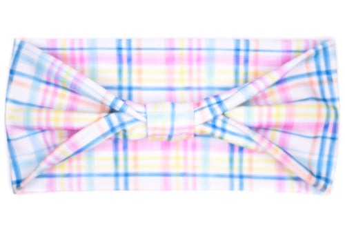 Wide Bow - Spring Plaid