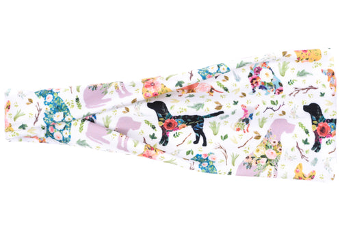 Modern Jersey Tri-Fold - Dogs & Flowers on White