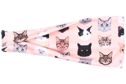 Modern Jersey Tri-Fold - Kitty Cats on Pink