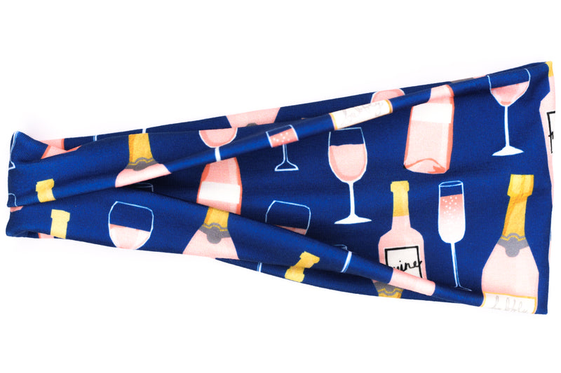 Modern Jersey Tri-Fold - Rosé & Bubbly on Blue