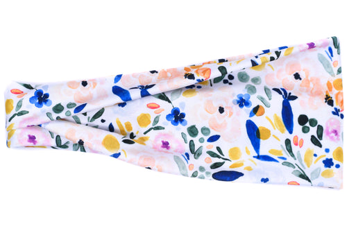 Modern Jersey Tri-Fold - White Watercolor Floral