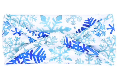 Wide Bow - Blue Snowflakes