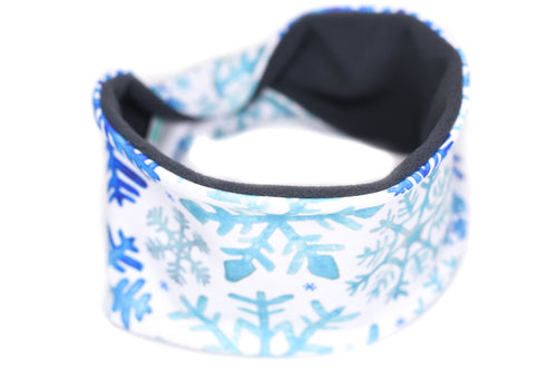 Polartec Fleece-Lined Headband - Blue Snowflakes