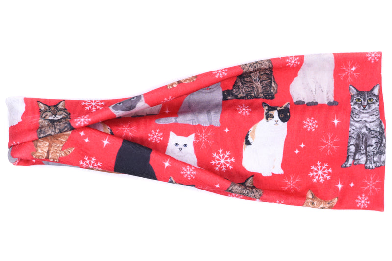 Modern Jersey Tri-Fold - Christmas Cats on Red