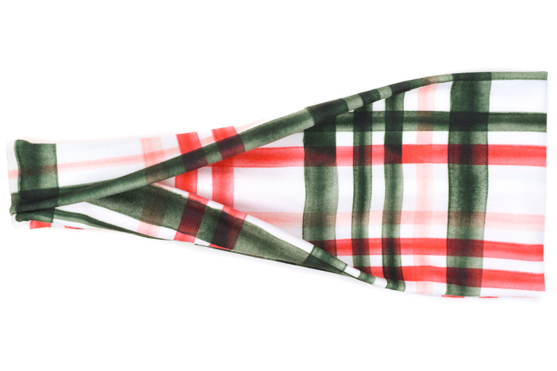 Modern Jersey Tri-Fold - Dark Green & Red Christmas Plaid