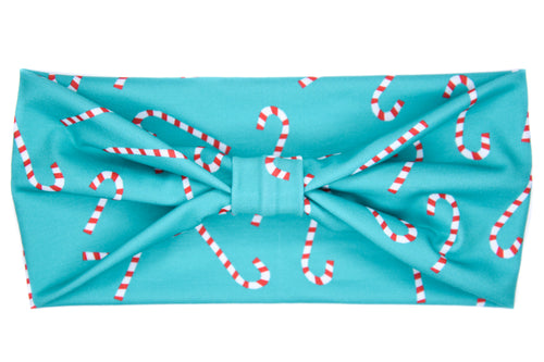 Wide Bow - Candy Canes on Turquoise