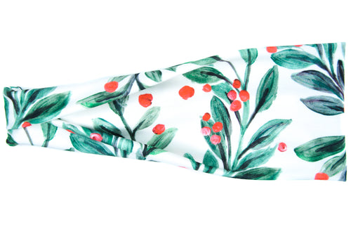 Modern Jersey Tri-Fold - Christmas Mistletoe on White