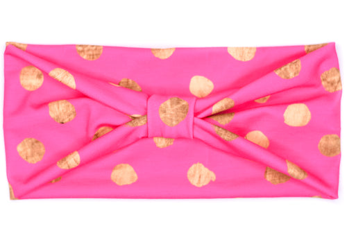 Wide Bow - Hot Pink Gold Dots