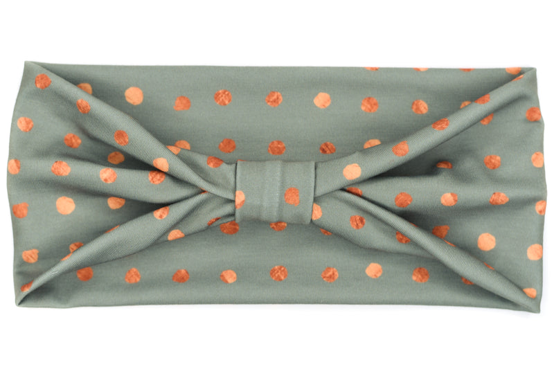 Wide Bow - Copper Grid Dots on Sage