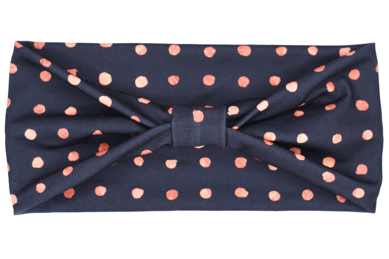 Wide Bow - Copper Grid Dots on Black