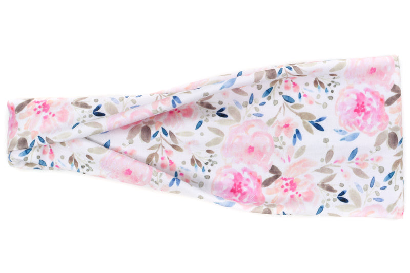 Modern Jersey Tri-Fold - Leona Pink Floral on White