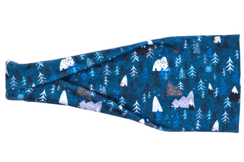 Modern Jersey Tri-Fold - Mountains & Trees Midnight Teal