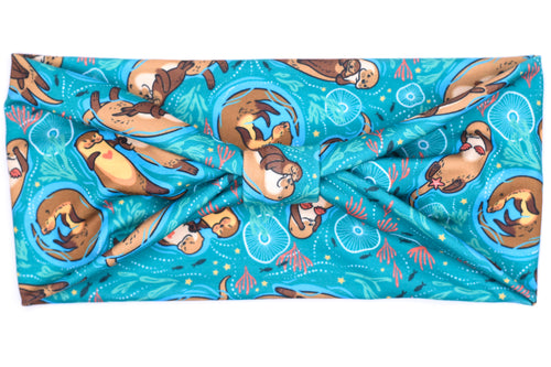 Wide Bow - Otters on Dark Teal