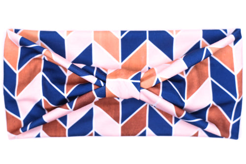 Wide Bow - Navy Pink & Copper Chevron