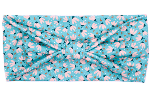 Wide Bow - Little Pink Flowers on Teal