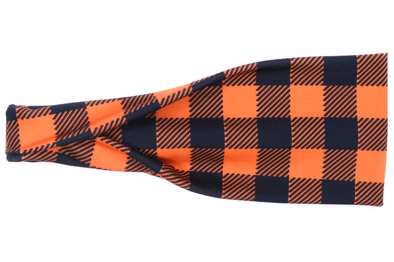 Modern Jersey Tri-Fold - Buffalo Orange & Black Plaid