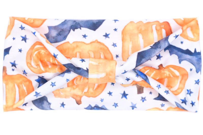 Wide Bow - Large Pumpkins, Bats & Stars on White