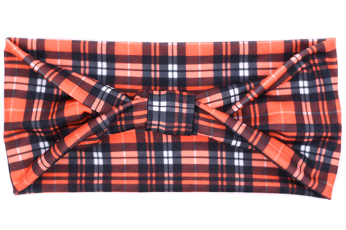 Wide Bow - Fall Black & Orange Plaid