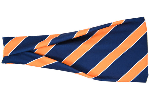 Modern Jersey Tri-Fold - Navy Blue & Orange Stripe